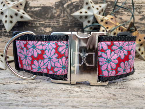Strawberry Fields extra wide dog collar by www.diva-dog.com