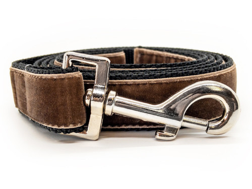 Classic velvet leash in sable brown by www.diva-dog.com