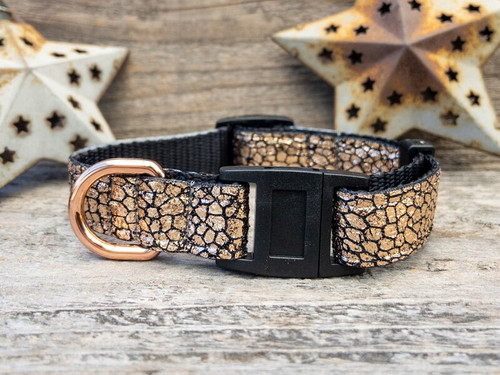 Monty Metallic rose gold cat collar by www.diva-dog.com