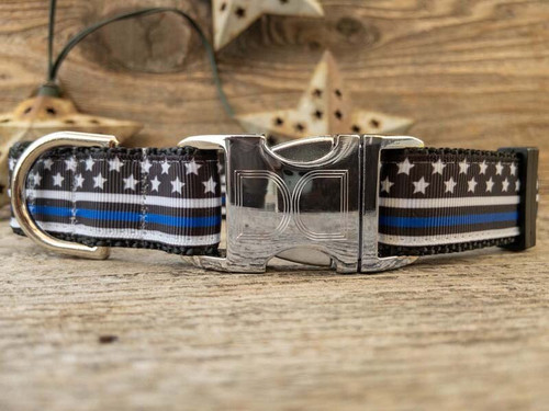 Thin Blue Line dog collar by www.diva-dog.com