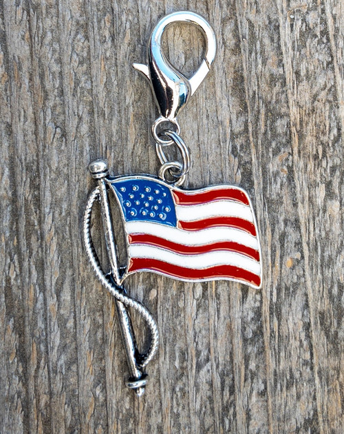 Old Glory Enamel USA flag dog collar charm by www.diva-dog.com