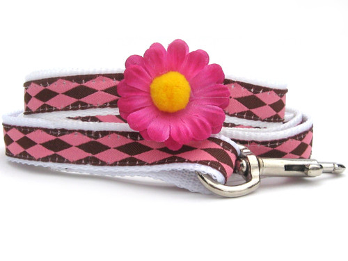 Gerber Daisy Pink Dog Leash - by Diva-Dog.com