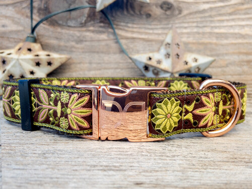 Venice Olive dog collar by www.diva-dog.com
