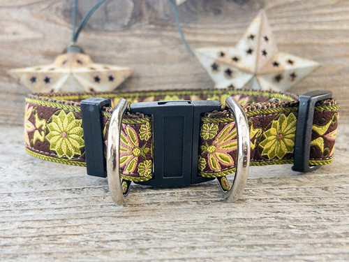 Venice Olive safety dog collar by www.diva-dog.com