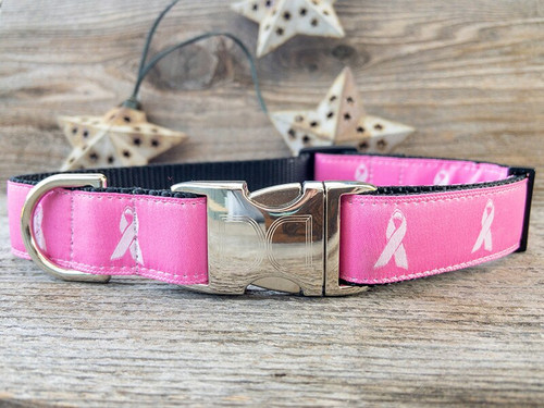 Breast Cancer Awareness dark pink dog collar by www.diva-dog.com