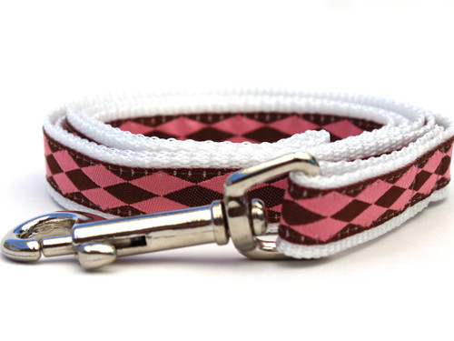 Harlequin Pink Dog Leash - by Diva-Dog.com