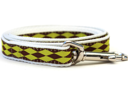 Harlequin Green Dog Leash - by Diva-Dog.com