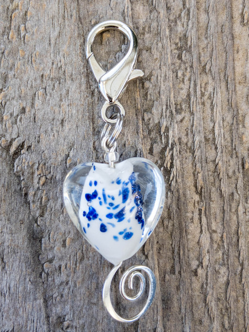 Sea glass heart dog collar charm by www.diva-dog.com