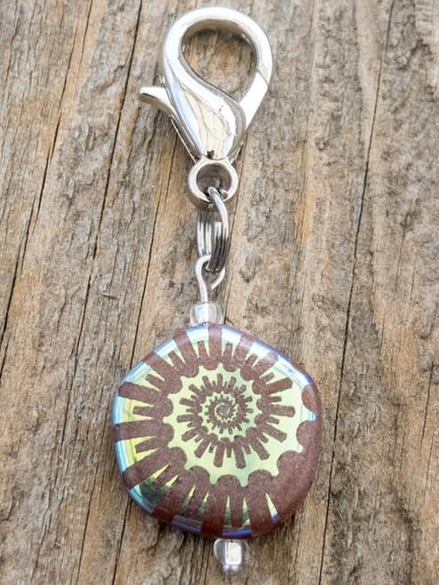 Ammonite Eggplant Rainbow Etched Collar Charm by www.diva-dog.com
