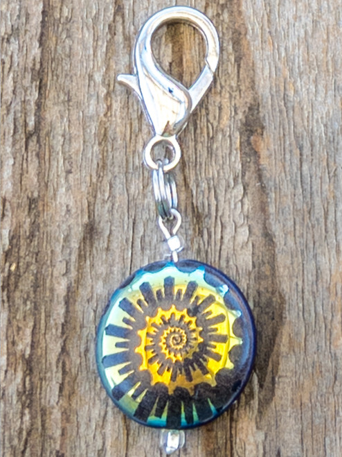 Ammonite Coral Rainbow Etched Collar Charm by www.diva-dog.com
