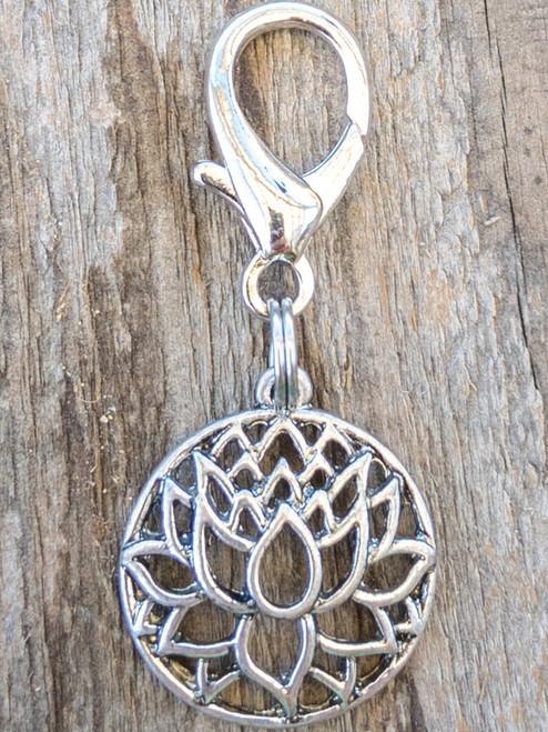 Lotus silver filigree dog collar charm by www.diva-dog.com