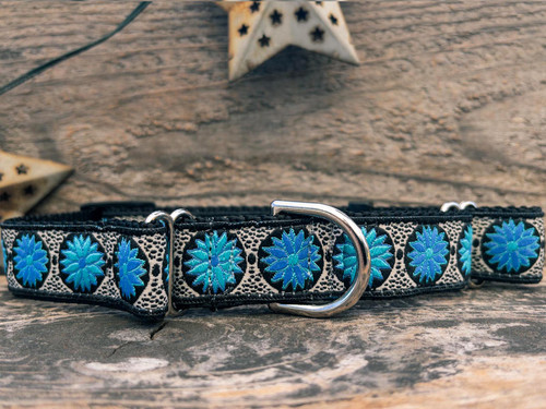 Blue Iris medium width martingale dog collar by www.mojavebazaar.com
