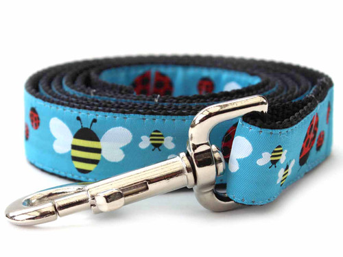 Lady Bugs and Bumble Bees Dog Leash - by Diva-Dog.com