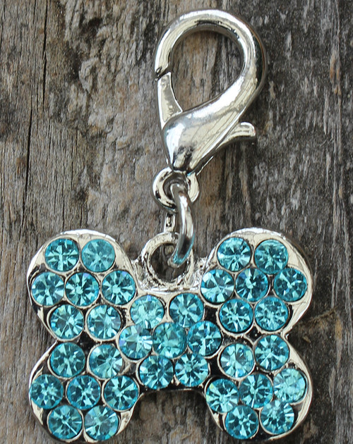 Blue Crystal Bone Charm - by Diva-Dog.com