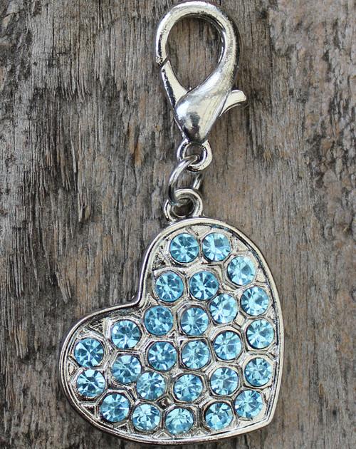 Blue Crystal  Heart Dog Collar Charm - by Diva-Dog.com
