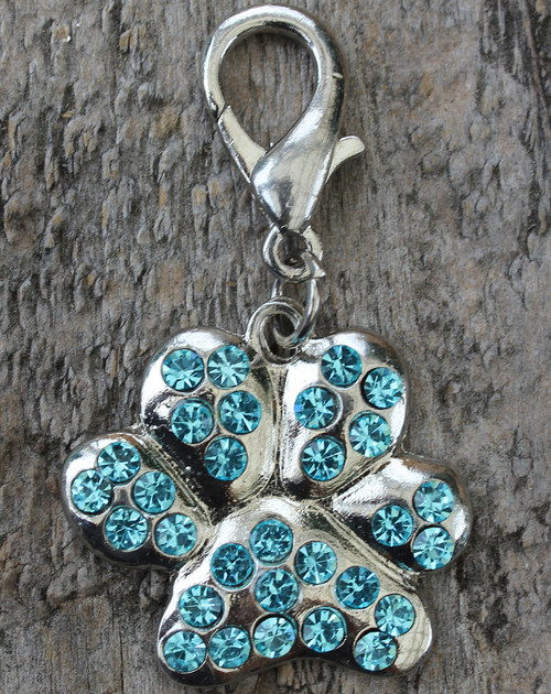 Blue Crystal Pave Paw Dog Collar Charm - by Diva-Dog.com