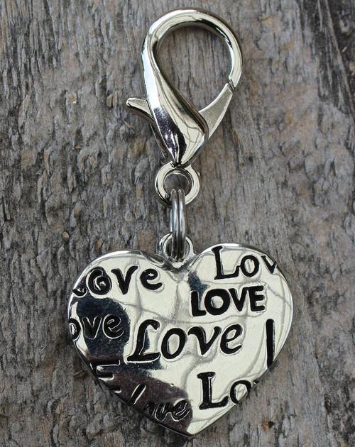 Love Heart Dog Collar Charm - by Diva-Dog.com