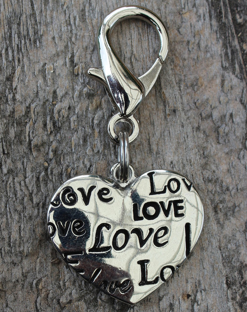 Love Heart Dog Collar Charm - by Diva-Dog.com