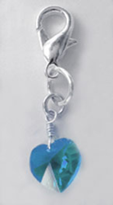 Ice Blue Swarovski Heart Charm - by Diva-Dog.com