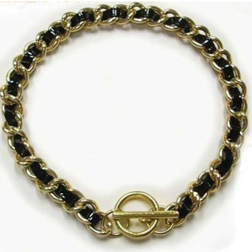 Paris Leather & Chain Dog Collar