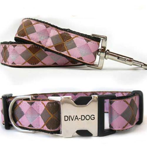 Argyle Clearance Collar and Leash - by Diva-Dog.com