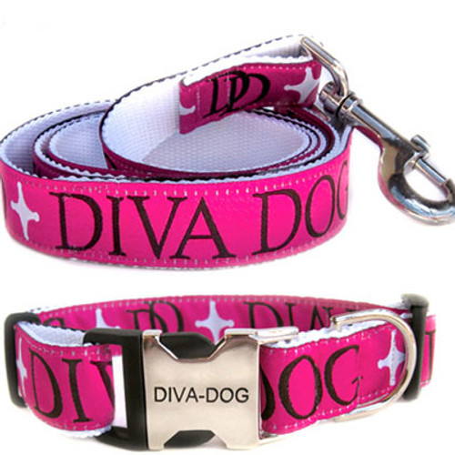 Monogram Clearance Collar and Leash - by Diva-Dog.com