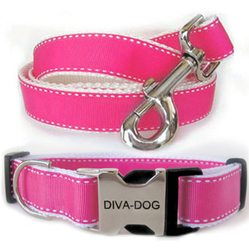 Preppy in Pink Clearance Collar and Leash - by Diva-Dog.com