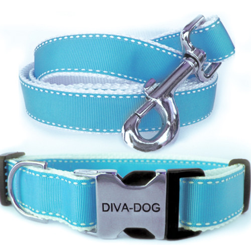 Preppy in Blue Clearance Collar and Leash - by Diva-Dog.com