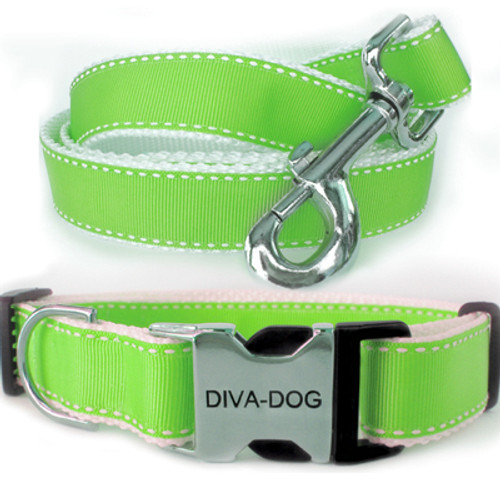 Preppy in Lime Clearance Collar and Leash - by Diva-Dog.com
