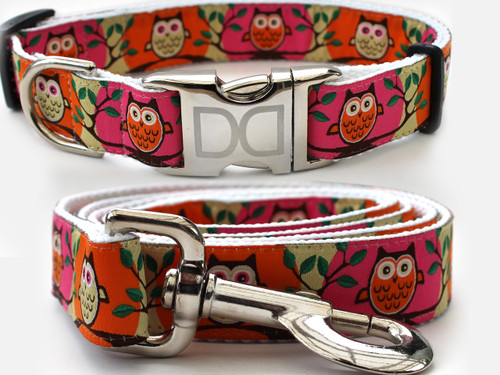 H'Owl Dog Collar and Leash Set - by Diva-Dog.com in Pumpkin & Pink