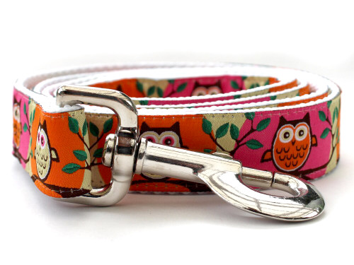 H'Owl Pumpkin and Pink Dog Leash - by Diva-Dog.com