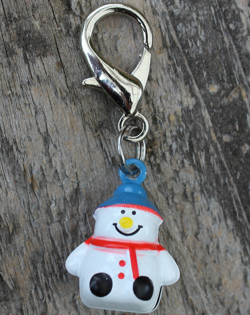 Jingle snowman dog collar Charm - by Diva-Dog.com