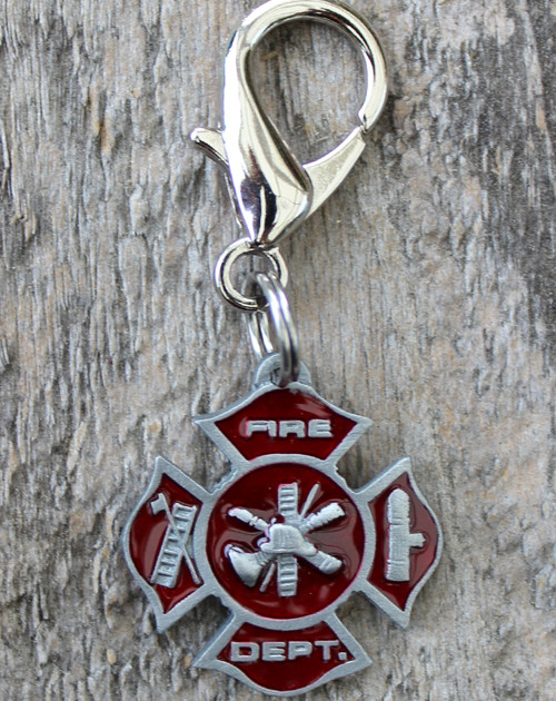Fire Department Maltese Cross dog collar charm by diva-dog.com
