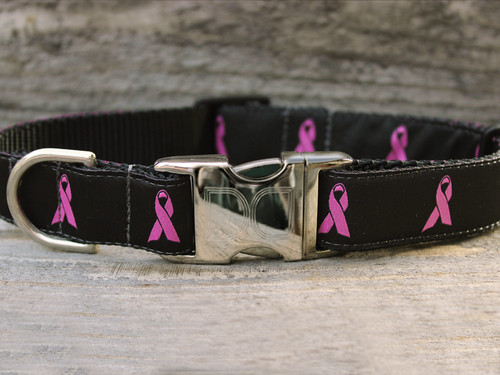 Black Breast Cancer awareness Collar - by Diva-Dog.com