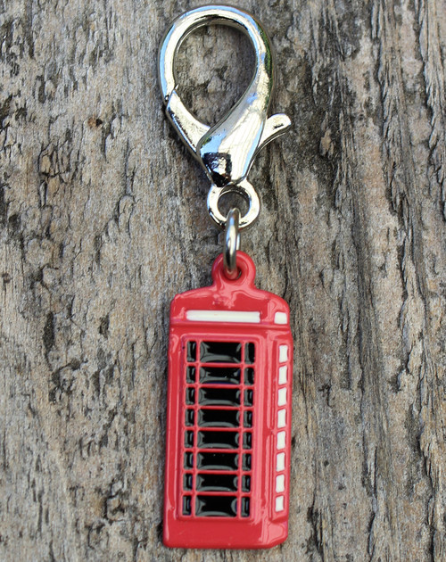 English Red Telephone Box Dog Collar Charm