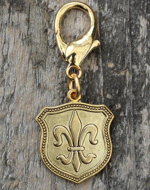 Fleur de Lis Gold Shield Collar Charm - by Diva-Dog.com