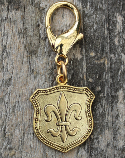 Fleur de Lis Gold Shield Collar Charm - by Diva-Dog.com