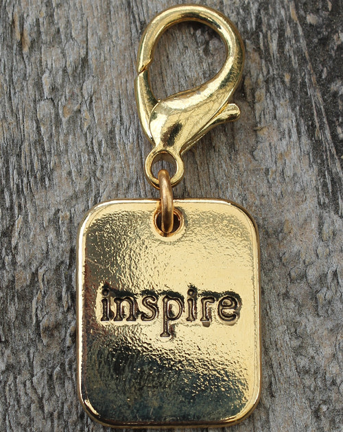 Inspire Gold Dog Collar Charm - by Diva-Dog.com