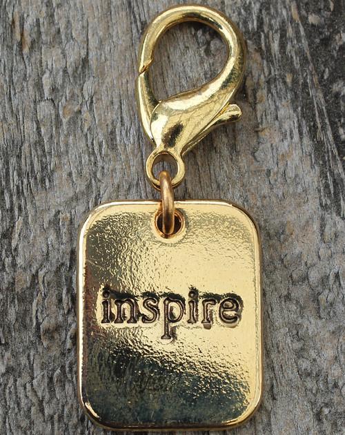 Inspire Gold Dog Collar Charm - by Diva-Dog.com