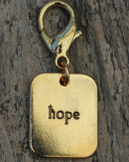 Hope Gold Dog Collar Charm - by Diva-Dog.com