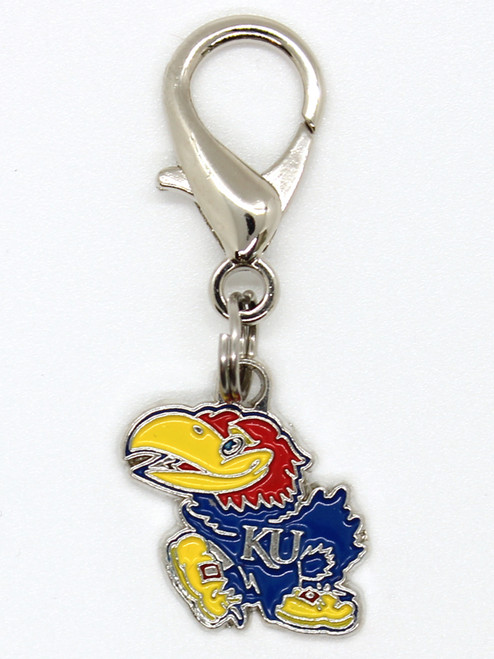 University of Kansas Jayhawks dog collar charm in packaging by diva-dog.com