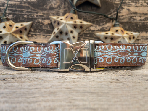 Calligraphy Brown Dog Collar - by Diva-Dog.com