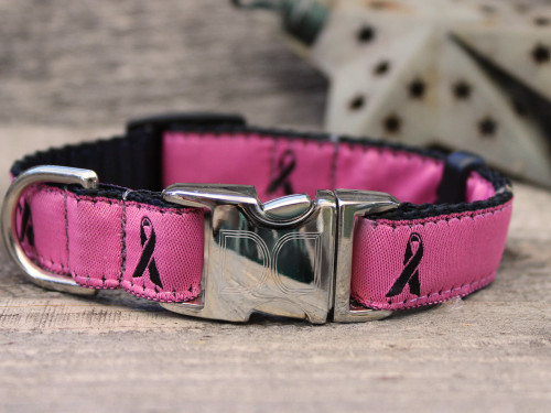 Breast Cancer Awareness dog Collar shown in pink - by Diva-Dog.com