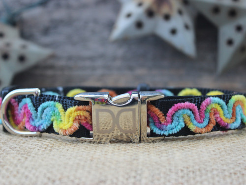 Waves Carnivale Dog Collar - by Diva-Dog.com