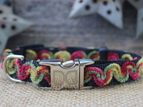 Waves Merlot Dog Collar - by Diva-Dog.com
