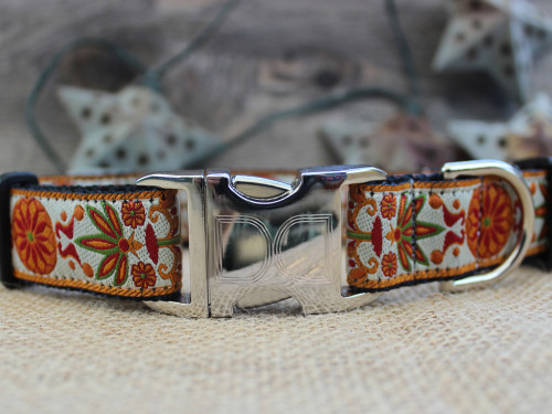 Venice Collection dog Collar - by Diva-Dog.com shown in Ivory.
