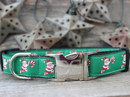 Candy Cane Santa dog collar with black - by Diva-Dog.com