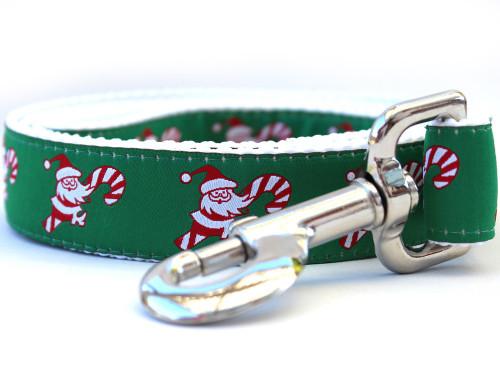 Candy Cane Santa dog leash by www.diva-dog.com