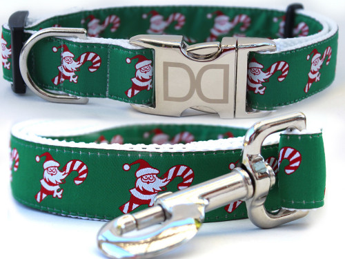 Candy Cane Santa dog collar and leash by diva-dog.com