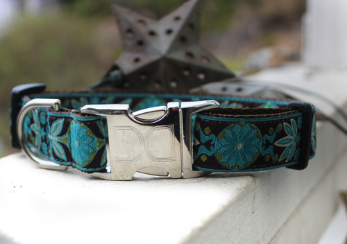 Boho Peacock Dog Collar with brown nylon - by Diva-Dog.com